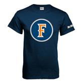 Cal State Fullerton Navy T Shirt-F Circle