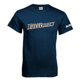Cal State Fullerton Navy T Shirt-Slanted Cal State Fullerton