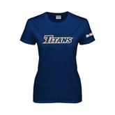 Cal State Fullerton Ladies Navy T Shirt-Titans