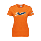 Cal State Fullerton Ladies Orange T Shirt-Slanted Titans