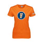 Cal State Fullerton Ladies Orange T Shirt-F Circle