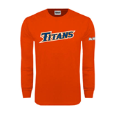 Cal State Fullerton Orange Long Sleeve T Shirt-Slanted Titans