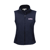 Ladies Fleece Full Zip Navy Vest-