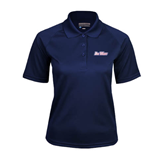 Ladies Navy Textured Saddle Shoulder Polo-