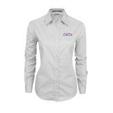 Ladies White Twill Button Down Long Sleeve-