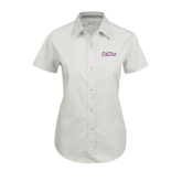 Ladies White Twill Button Up Short Sleeve-
