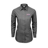 Ladies Grey Tonal Pattern Long Sleeve Shirt-