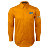 UC Riverside Gold Twill Button Down Long Sleeve-UCR