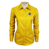 UC Riverside Ladies Gold Twill Button Down Long Sleeve-Highlander Bear
