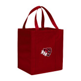 Non Woven Red Grocery Tote-BSU w/ Bear Head