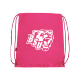Pink Drawstring Backpack-BSU w/ Bear Head