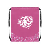 Nylon Pink Bubble Patterned Drawstring Backpack-BSU w/ Bear Head
