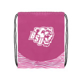 Nylon Zebra Pink/White Patterned Drawstring Backpack-BSU w/ Bear Head
