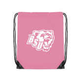 Light Pink Drawstring Backpack-BSU w/ Bear Head