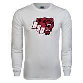White Long Sleeve T Shirt-BSU w/ Bear Head