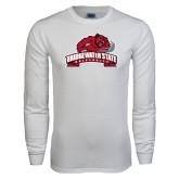 White Long Sleeve T Shirt-Bridgewater State University w/ Bear