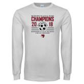 White Long Sleeve T Shirt-2018 MSCAC Mens Soccer Champions