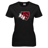 Ladies Black T Shirt-BSU w/ Bear Head