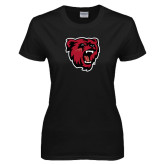 Ladies Black T Shirt-Bear Head