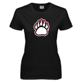 Ladies Black T Shirt-White and Black Bear Paw