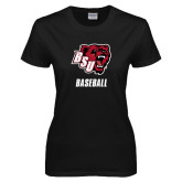 Ladies Black T Shirt-Baseball