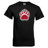 Black T Shirt-Red and White Bear Paw
