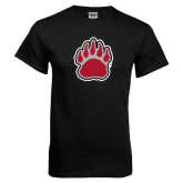 Black T Shirt-Red and Gray Bear Paw