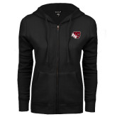ENZA Ladies Black Fleece Full Zip Hoodie-BSU w/ Bear Head
