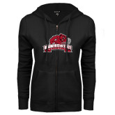 ENZA Ladies Black Fleece Full Zip Hoodie-Bridgewater State University w/ Bear
