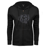 ENZA Ladies Black Fleece Full Zip Hoodie-BSU w/ Bear Head Glitter