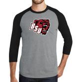 Grey/Black Tri Blend Baseball Raglan-BSU w/ Bear Head