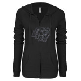ENZA Ladies Black Light Weight Fleece Full Zip Hoodie-BSU w/ Bear Head Glitter
