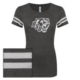 ENZA Ladies Black/White Vintage Triblend Football Tee-BSU w/ Bear Head Glitter
