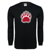Black Long Sleeve T Shirt-Red and White Bear Paw