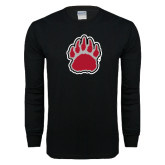 Black Long Sleeve T Shirt-Red and Gray Bear Paw