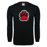 Black Long Sleeve T Shirt-Red, Black and Gray Bear Paw