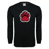 Black Long Sleeve T Shirt-Red, Black and Gray Bear Paw