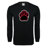 Black Long Sleeve T Shirt-Red and Black Bear Paw