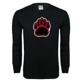 Black Long Sleeve T Shirt-Red and Black Bear Paw