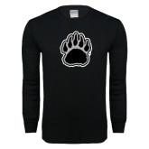 Black Long Sleeve T Shirt-Black and Gray Bear Paw