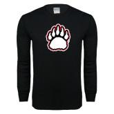 Black Long Sleeve T Shirt-White and Black Bear Paw