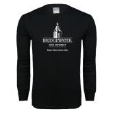 Black Long Sleeve T Shirt-University Mark w Tag Line