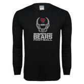 Black Long Sleeve T Shirt-Football Helmet Design