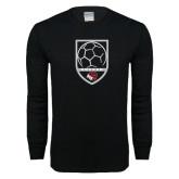 Black Long Sleeve T Shirt-Soccer Shield Design