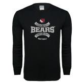 Black Long Sleeve T Shirt-Softball Seams Design