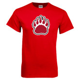 Red T Shirt-Red and White Bear Paw