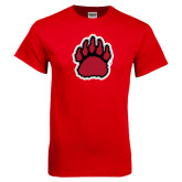 Red T Shirt-Red, Black and Gray Bear Paw
