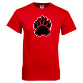 Red T Shirt-Red and Black Bear Paw