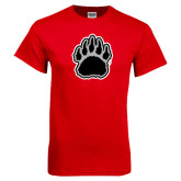 Red T Shirt-Black and Gray Bear Paw