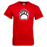 Red T Shirt-White and Black Bear Paw